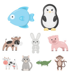 animals set icons in cartoon style big collection vector image