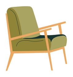 Armchair with wooden handles trendy furniture vector