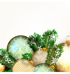 background with golden baubles and xmas tree vector image