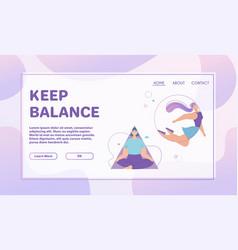 Banner keep balance concept meditation vector