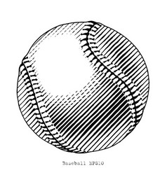 baseball hand draw vintage style black and white vector image