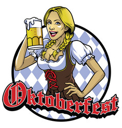 Bavarian girl with a glass of beer vector