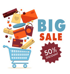 big sale 50 discount cart background image vector image