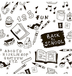 black and white school doodle pattern vector image