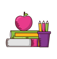 books apple pencils school supplies vector image