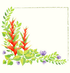 Border template with watercolor painting of vector