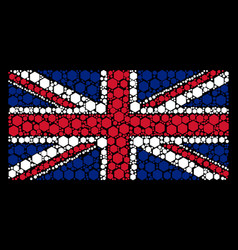 british flag collage of filled hexagon icons vector image