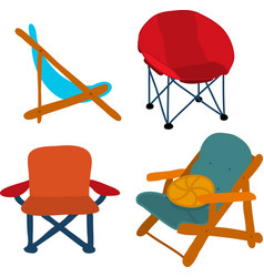camping picnic patio chairs icon set vector image