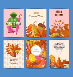 cartoon autumn elements and leaves card or vector image
