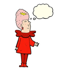 Cartoon queen with thought bubble vector