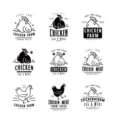 Chicken farm labels and emblems vector