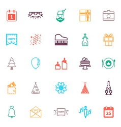 Christmas and new year line icons flat color vector