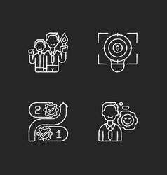 Company values chalk white icons set on black vector