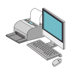 Computer desktop with printer vector