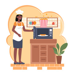 Cooking popcorn at home vector