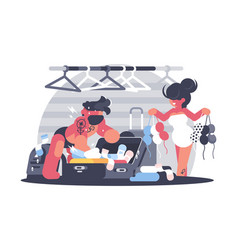 Couple man and woman packing suitcase vector