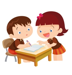 Cute girl teaching boy vector