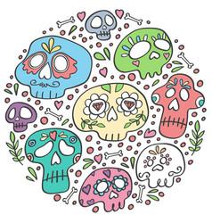 day dead skulls dia de los muertos doodle vector image
