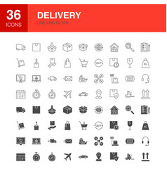 Delivery line web glyph icons vector
