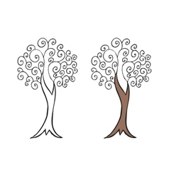 Doodling hand drawn amazing tree with curls vector image