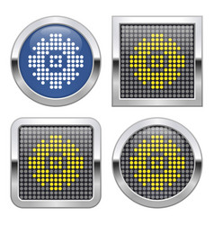 Dotted icon cogwheel on glossy button in four vector
