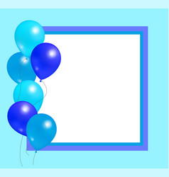 Empty frame with balloons party birthday vector