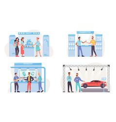 Expo exhibition set beauty stand car presentation vector