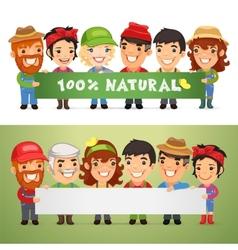 Farmers Presenting Horizontal Banner vector image