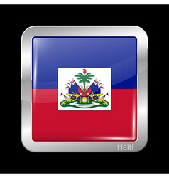 Flag of Haiti Metal Icon Square Shape vector image