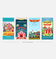 Flat amusement park vertical banners vector