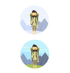 flat cartoon hiking man vector image