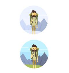 Flat cartoon hiking man vector