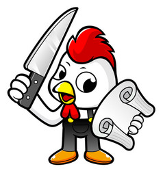 Funny chicken character holding a knife and order vector