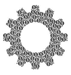 gearwheel collage of coin icons vector image