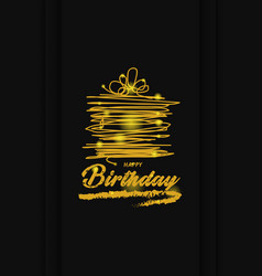 gold happy birthday greeting card vector image