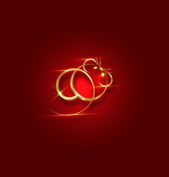 gold logo rat chinese zodiac sign year rat vector image