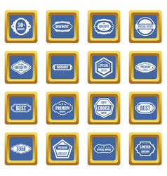 golden labels icons set blue vector image