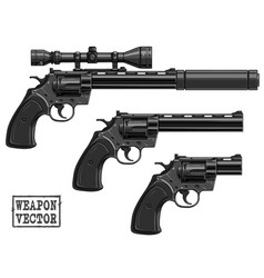 Graphic silhouette old revolver with optical sight vector