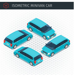 Green minivan car vector