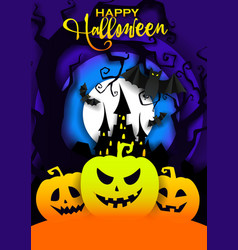 Happy halloween poster template paper cut vector