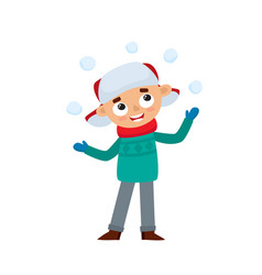 happy teenage in winter clothes playing with vector image
