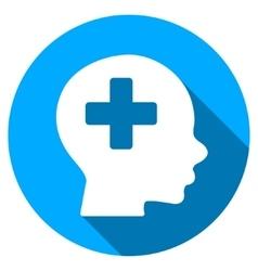 Head Medicine Flat Round Icon with Long Shadow vector
