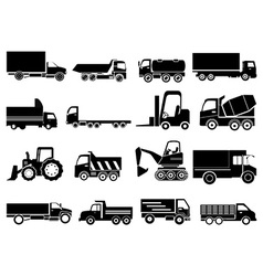 Heavy vehicles icons set vector