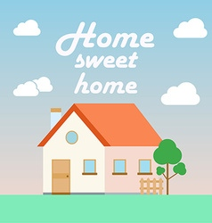 home sweet poster in flat cartoon style vector image