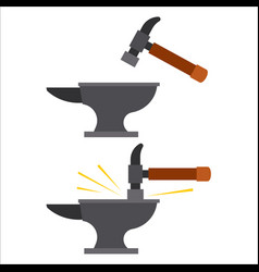 Image a hammer hitting anvil vector