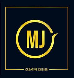 Initial letter mj logo template design vector
