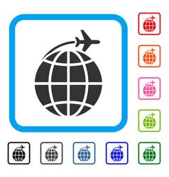 international flight framed icon vector image vector image
