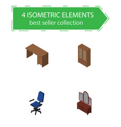 isometric furnishing set of cabinet table office vector image