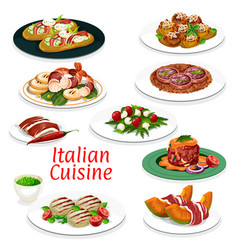 Italian meat dishes seafood and vegetable salads vector