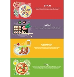 Italy Japan Spain and Germany food vector image